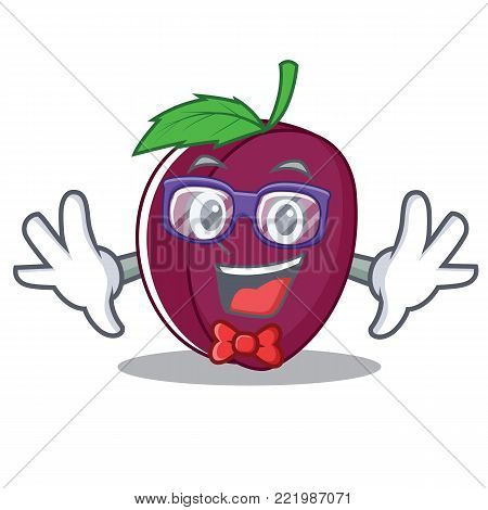 Geek plum character cartoon style vector illustration