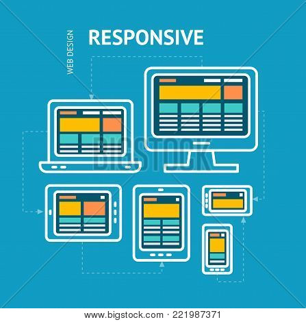 Responsive Web Design Concept on a Blue Background Desktop Monitor, Laptop, Tablet and Phone for Web. Vector illustration