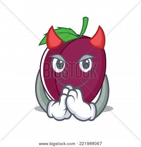 Devil plum mascot cartoon style vector illustration