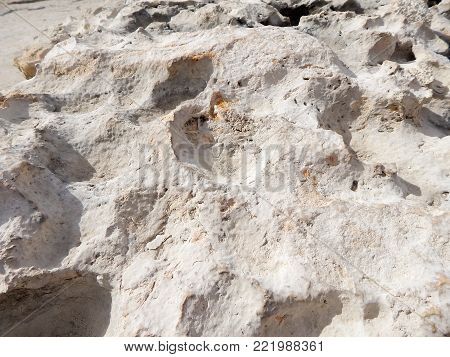 Texture of sandstone stone. Caspian Sea shore.