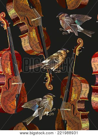 Embroidery violin and bird seamless pattern. Classical embroidery musical violin, titmouse. Fashion music art, template for clothes, t-shirt design art