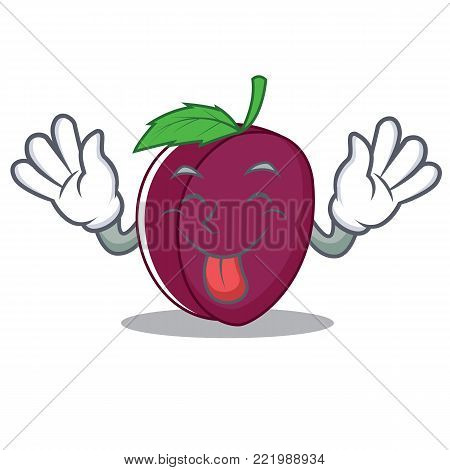 Tongue out plum mascot cartoon style vector illustration
