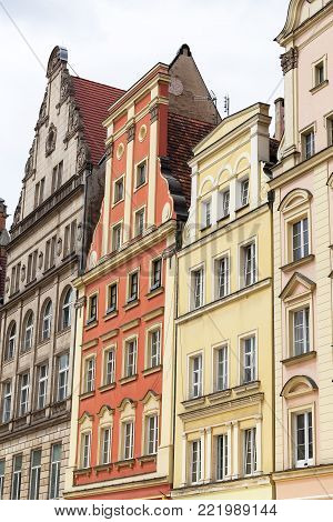 Main market, colorful tenement houses, Lower Silesia, Wroclaw, Poland. It is one of the largest markets in Europe
