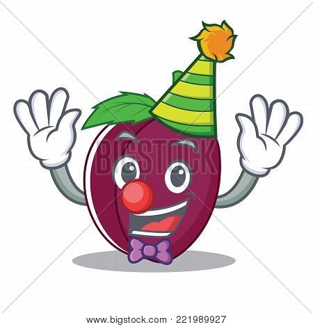 Clown plum mascot cartoon style vector illustration
