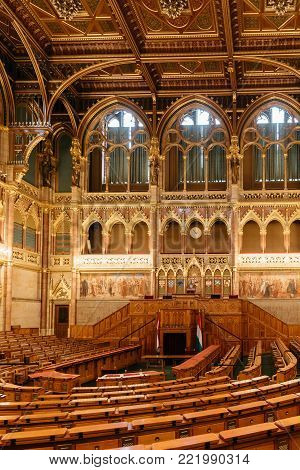 Budapest, Hungary - Interior view of Assembly Hall of Hungarian Parliament Building. It is the seat the National Assembly of Hungary