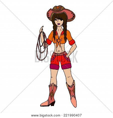 Blonde Cowgirl With Lasso. Vector Illustration. Isolated On Whit