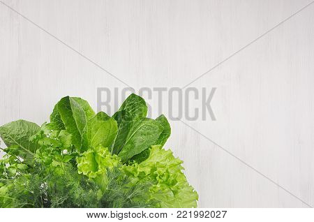 Different sheaves greens on white wooden background, top view.