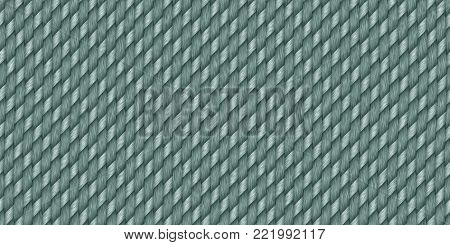 Deep Aqua Blue Cross Weave Texture. Wicker Rattan Background Surface. 3D Rendering. 3D Illustration.