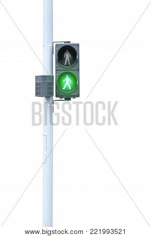 A Traffic Light For Pedestrians, Green Signal On White Background With Clipping Path