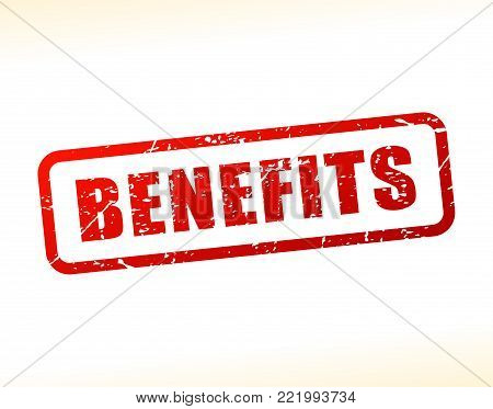 Illustration of benefits text buffered on white background