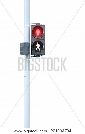 A Traffic Light For Pedestrians, Red Signal Stop On White Background With Clipping Path