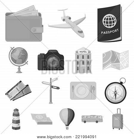 Rest and travel monochrome icons in set collection for design. Transport, tourism vector symbol stock  illustration.