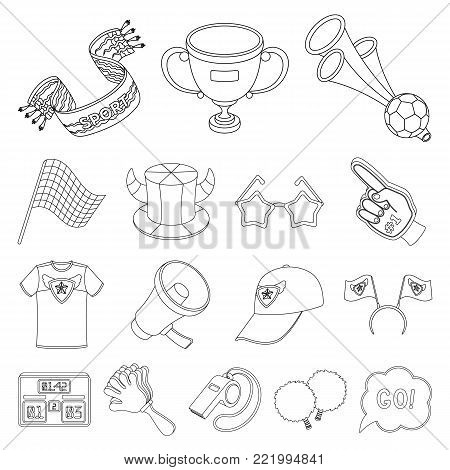 Fan and Attributes outline icons in set collection for design. Sports Fan vector symbol stock  illustration.