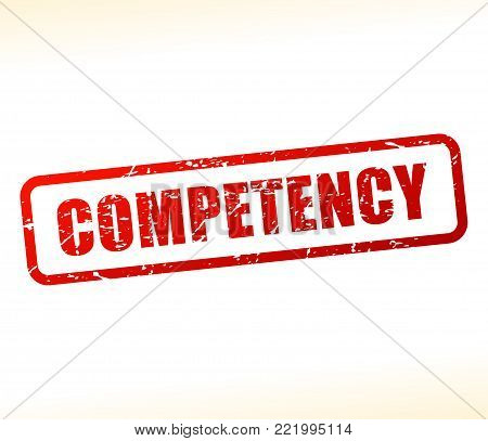 Illustration of competency text buffered on white background