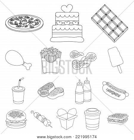 Fast food outline icons in set collection for design.Food from semi-finished products vector symbol stock  illustration.
