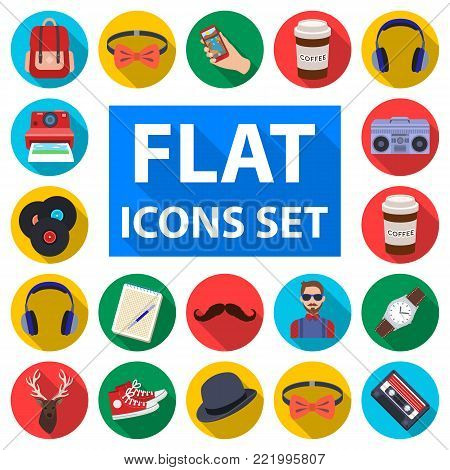 Style Hipster flat icons in set collection for design. Hipster Attributes and accessories vector symbol stock  illustration.