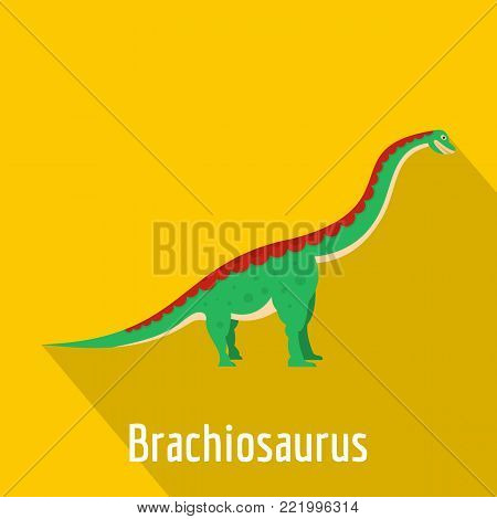Brachiosaurus icon. Flat illustration of brachiosaurus vector icon for web.