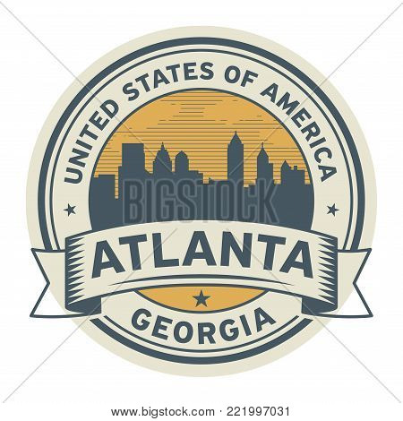 Stamp or label with name of Atlanta, Georgia, USA, vector illustration
