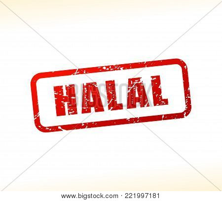 Illustration of halal text buffered on white background