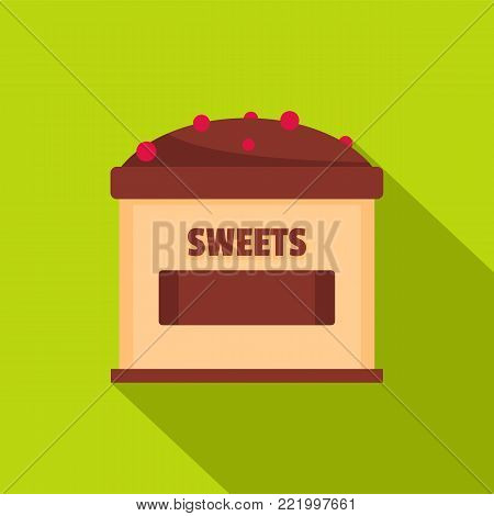 Sweets selling icon. Flat illustration of sweets selling vector icon for web.