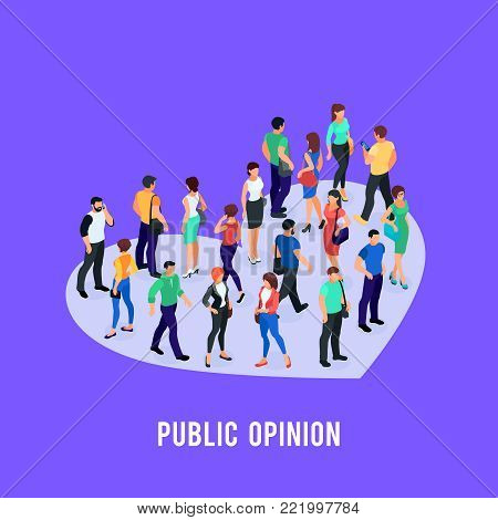Social concept of public opinion. Isometric crowd of people standing on the Like in the form of heart. Vector illustration.