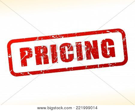 Illustration of pricing text buffered on white background