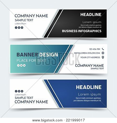 Business Banner Template In Original Colors. Vector Corporate Identity Design, Blue Technology Backg