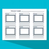 Storyboard template in form of a film. Scenario for media production. Flat vector cartoon illustration. Objects isolated on a white background. poster