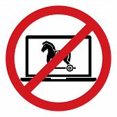 No trojan horse malware virus computer allow restrict sign isolated on white background. Vector illustration prohibited circle design. poster
