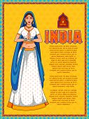 illustration of Lady doing namaste gesture showing welcome on India background poster