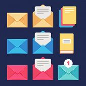Envelope, email and letter vector icons. Postal correspondence and mms symbols. Letter and correspondence, envelope and postal spam message illustration poster