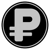 Rouble black coin icon. Vector style is a flat coin symbol using black and light gray colors. poster