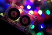 Audio tapes for tape recorder 70s 80s 90s bokeh vintage fashion old retro wallpaper background closeup nostalgia music sound style poster