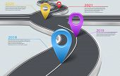 Vector company corporate milestone, history timeline, business presentation layout, infographic strategic plan workflow, grey background. Car road with crossroad, years, pointers, concept template poster