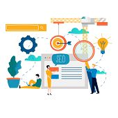 SEO, search engine optimization, keyword research, market research flat vector illustration. SEO concept. Web site coding, internet search optimization design for mobile and web graphics poster
