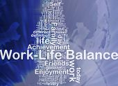 Background concept wordcloud illustration of work-life balance international poster