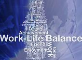 Background concept wordcloud illustration of work-life balance international poster