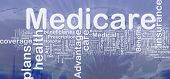 Background concept wordcloud illustration of medicare international poster