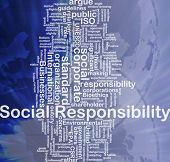 Background concept wordcloud illustration of social responsibility international poster