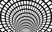 Geometric Black and White Abstract Hypnotic Worm-Hole Tunnel - Optical Illusion - Vector Illusion Checkered Optical Art poster
