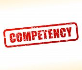 Illustration of competency text buffered on white background poster