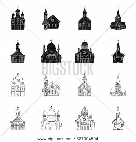 Isolated Object Of Cult And Temple Sign. Set Of Cult And Parish Vector Icon For Stock.