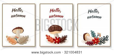 Autumn Cards With Stylized Mushrooms And Leaves And The Inscription. Hello, Autumn . Vector Illustra