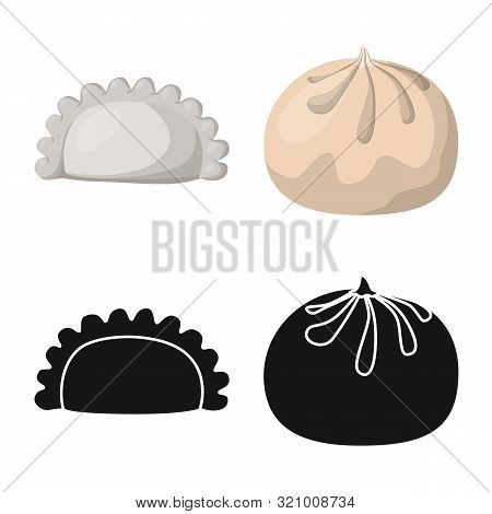 Vector Design Of Products And Cooking Logo. Set Of Products And Appetizer Stock Symbol For Web.