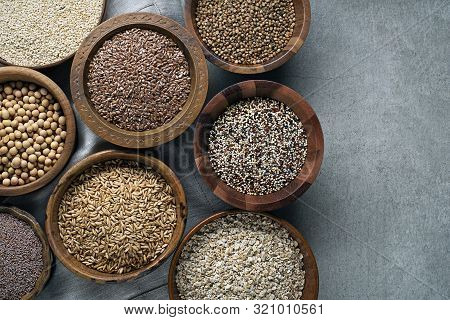 Various Of Healthy Seeds And Cereals - Sesame, Flax Seed, Chia Seeds, Soybean, Buckwheat, Psyllium,