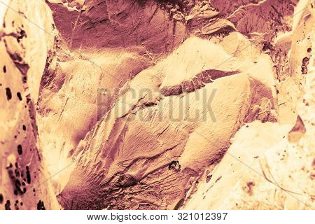 Vintage Yellow Background. Rough Painted Wall Of Aspen Gold Color. Imperfect Plane Of Golden Colored