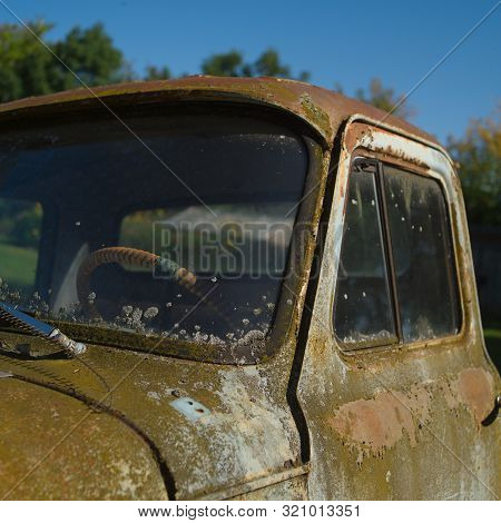 Rusty Cabin Of The Old Abandoned Truck, Outdoor Square Composition Image