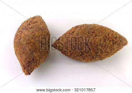 Kibbeh Traditional Lebanese Cuisine Food, Isolated On White Background. Fried Burghul And Meat Balls