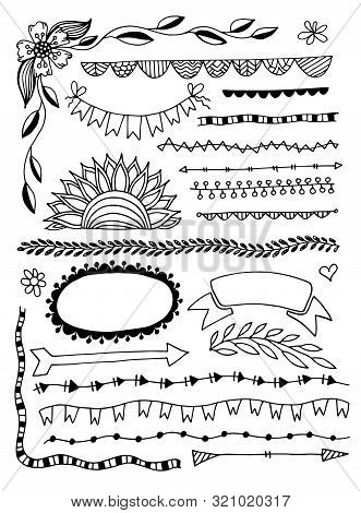 Set Of Hand Drawing Sketch Doodle Divider Decor Elements Frames, Edge Lines