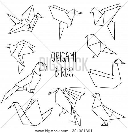 Cute Collection With 10 Origami Birds In A Outline. Vector Set Of Line Geometric Birds: Crane, Pigeo